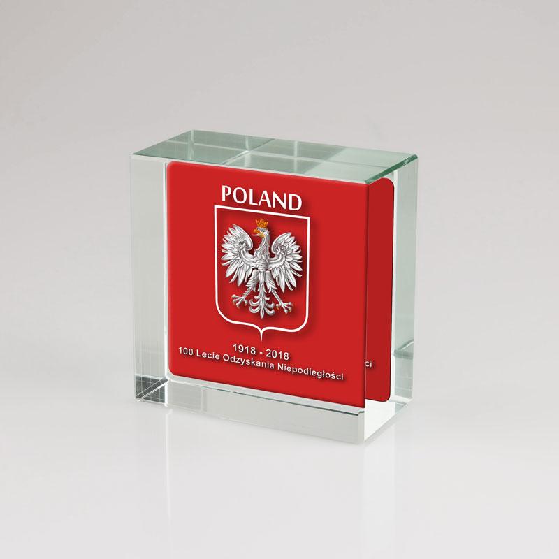 Szklana kosta ze zdjęciem z okazji odzyskania niepodległości