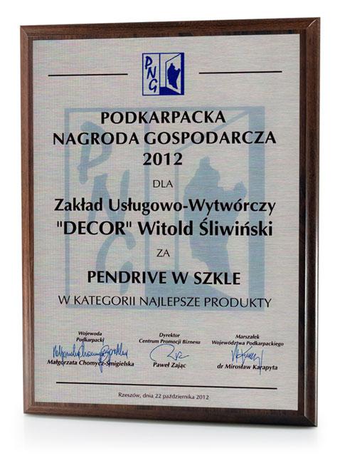 Dyplom dla firmy DECOR - Podkarpacka Nagroda Gospodarcza - 2012