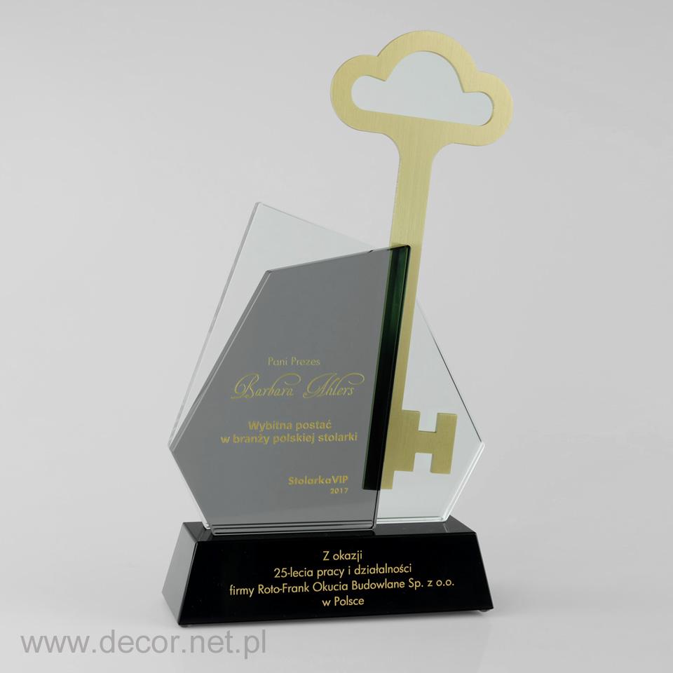 Statuetka jubileuszowa z kluczem, prezent na 25 rocznicę firmy