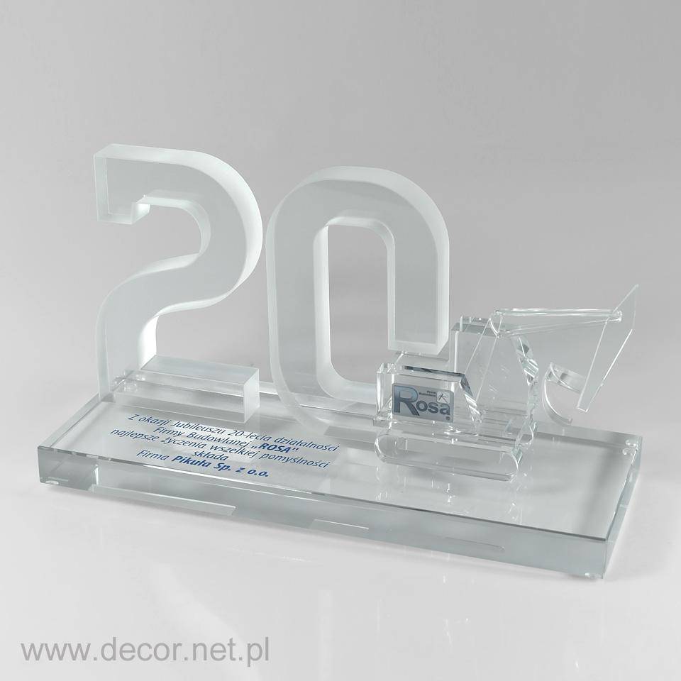 Statuetka jubileuszowa z koparką, miniatura szklana na rocznicę firmy
