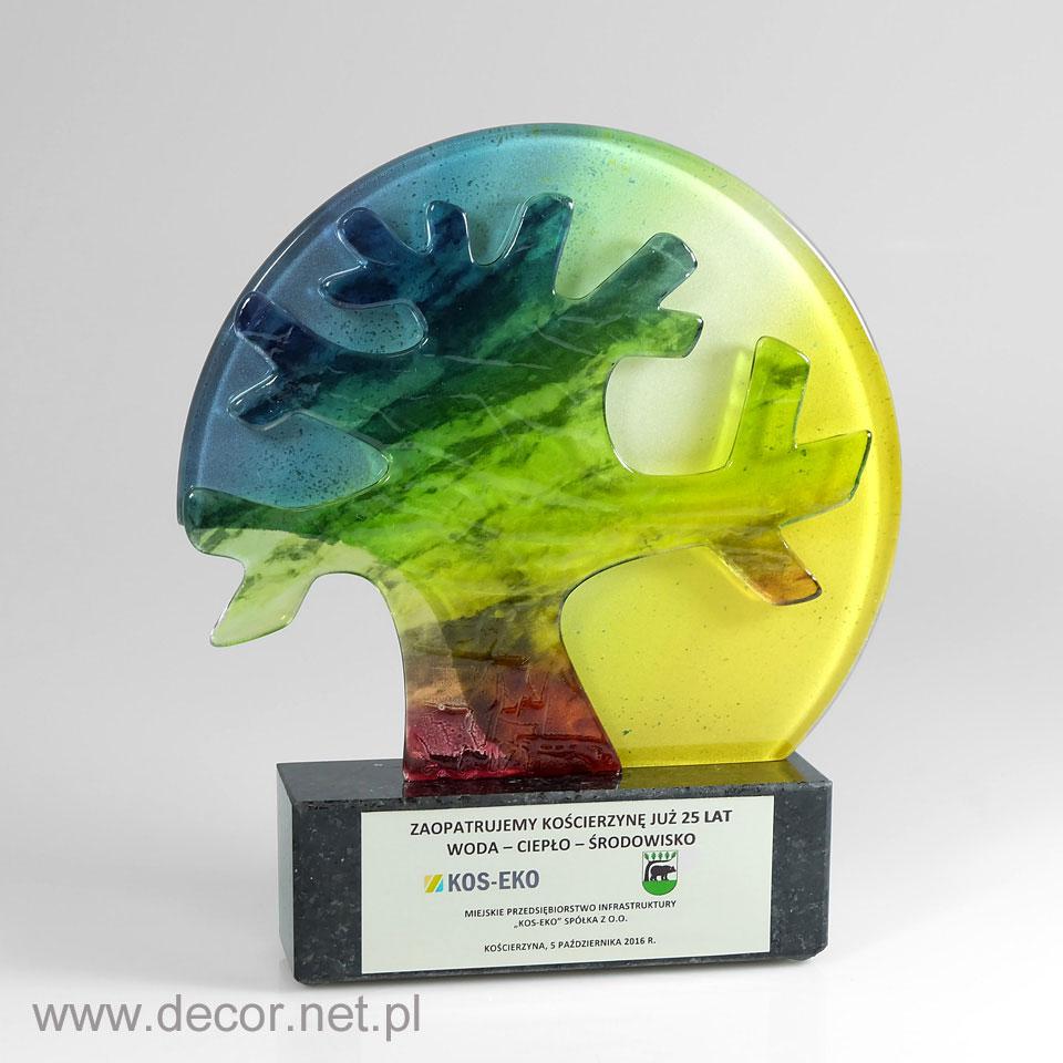 Statuetka szklana drzewo. Prezent na 25 lecie firmy