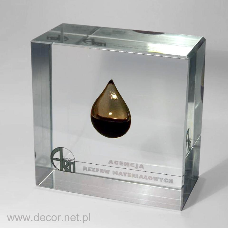 Szklany Przycisk do papieru z olejem wewnątrz szkła