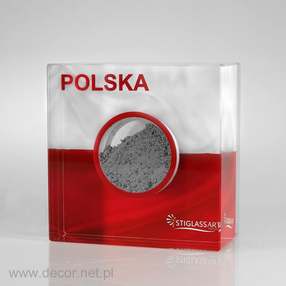 Przycisk do papieru z piaskiem wewnątrz szkła