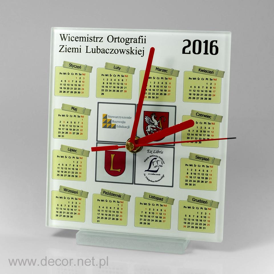 Szklany zegar z logo