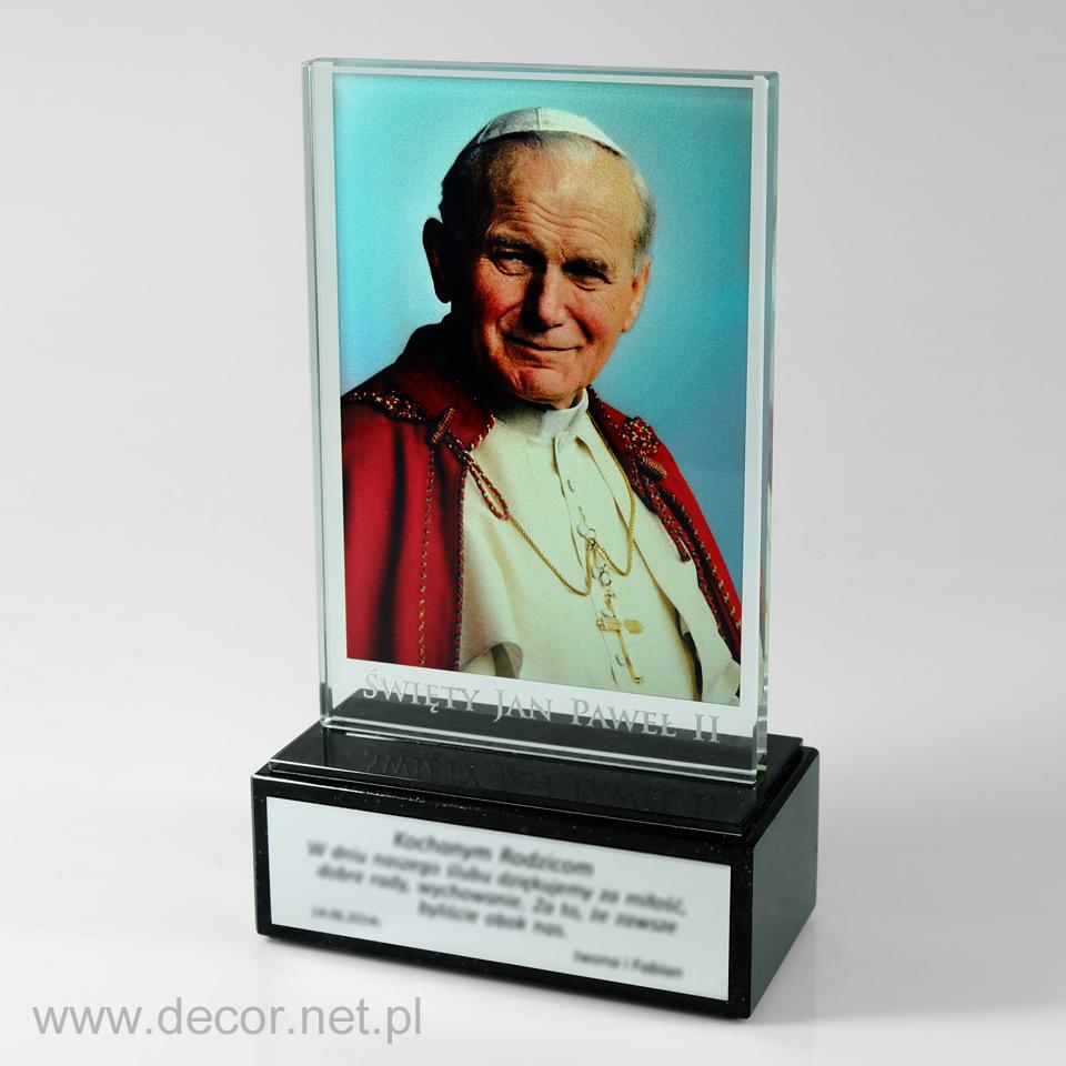 Statuetka - Jan Paweł II - zdjęcie na szkle - Wizerunek Świętego