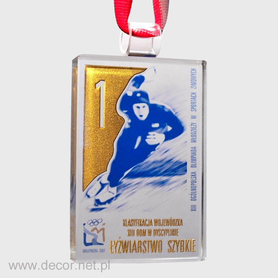 Szsklany medal na zawody narciarskie, łyżwiarskie, saneczkarskie