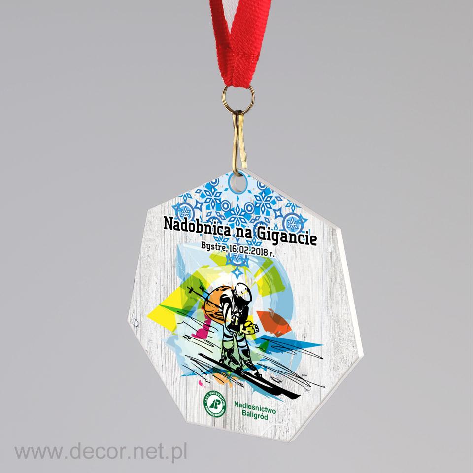 Medal metalowy z nadrukiem narciarski dla dyscyplin zimowych
