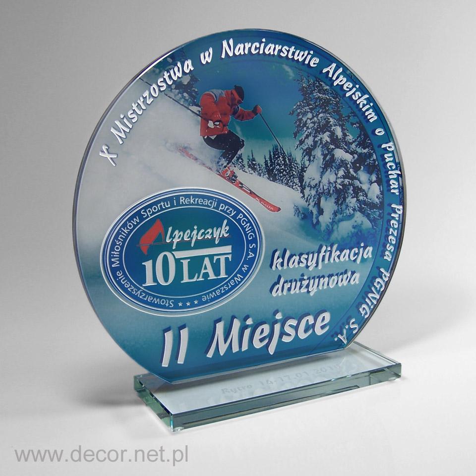 Szklana plakieta statuetka narciarska