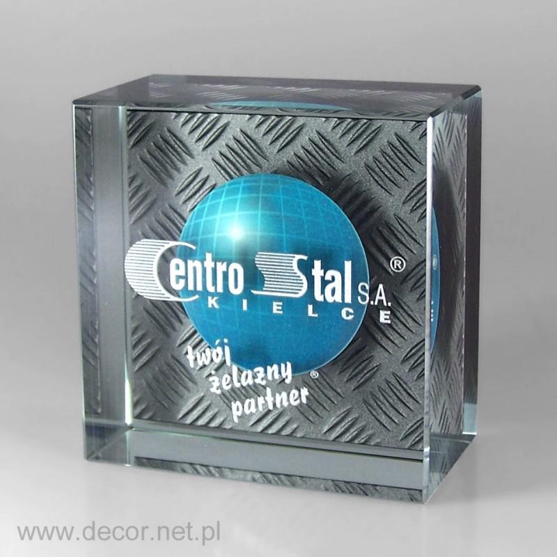 Szklana pamiątka biznesowa z logo firmy