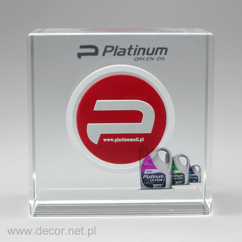 Szklany przycisk z logo firmy