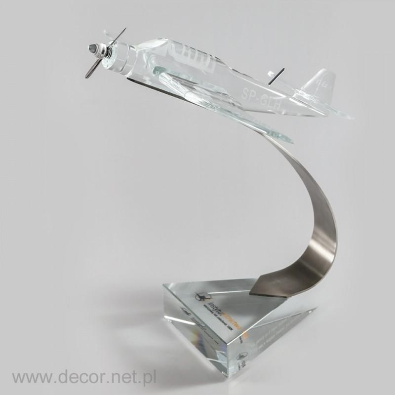 Szklana miniatura samolotu Bies